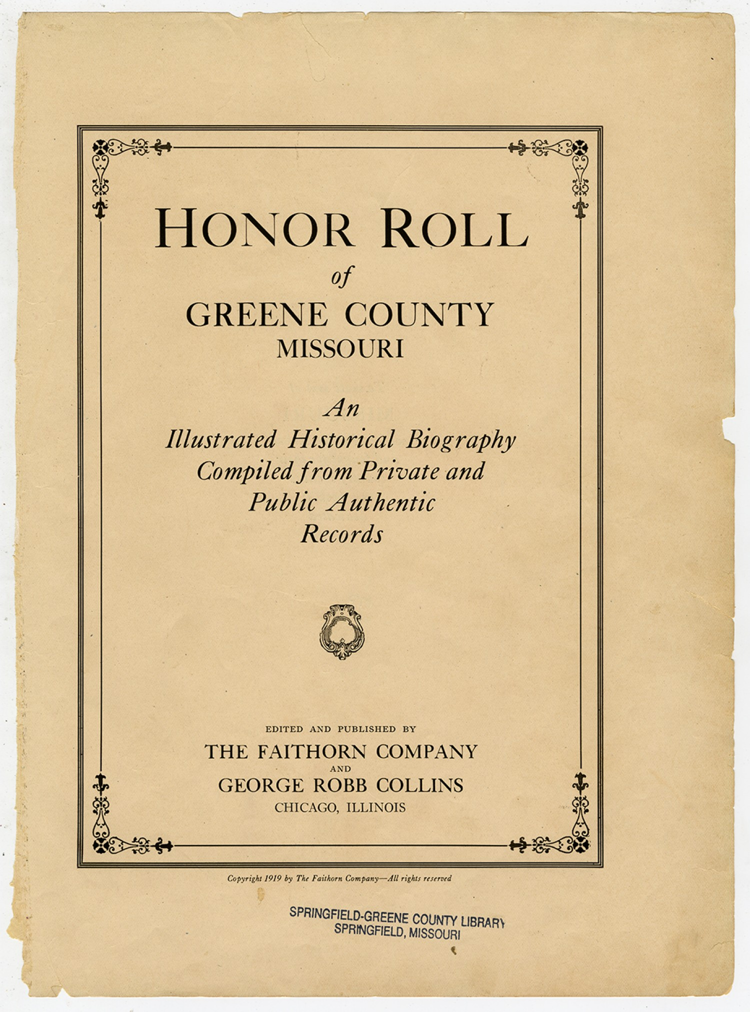 Honor Roll of Greene County Missouri | Collections